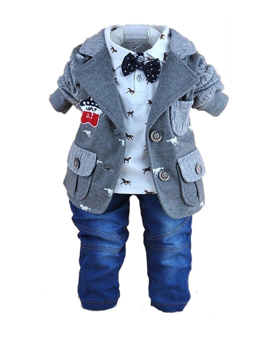 SOPO Toddler Baby Boy 3 Piece Cotton Patchwork Jacket, Tshirt, Jeans Grey 3t