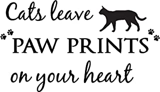 Sticker Perfect Cats Leave paw Prints on Your Heart Cute pet Vinyl Wall Decals Sayings Art Lettering