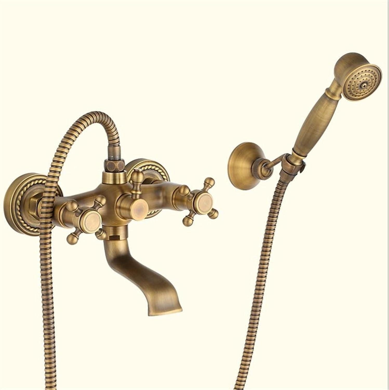 HomJo Bad Wasserhahn Massiv Messing Dual Griff Dual Hole Telefon Dusche Badewanne Wasserhahn , 2