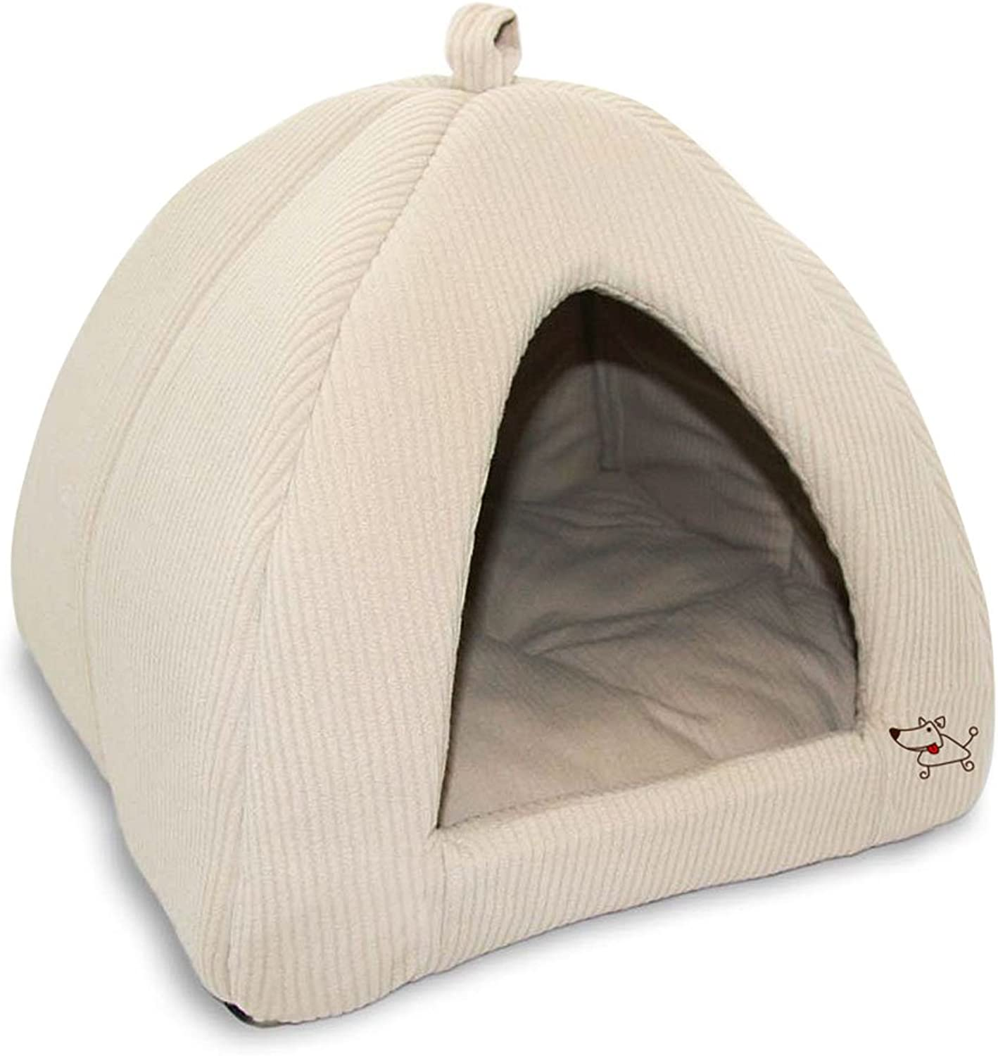 Pet Tent  Soft Bed for Dog and Cat, Best Pet Supplies, Medium, Corduroy Beige