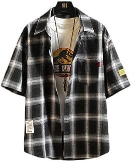 Lasher シャツ チェック柄 ゆったり メンズシャツ 長袖 半袖 カジュアル フード付き パーカー レイヤード 春夏秋 3色 大きいサイズ
