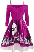 DAGE🍒 Women Plus Size Christmas Day Sling Party Dress Casual Long Sleeve Print Dress Lady Fashion Knee-Long Maxi Skirt