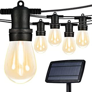 Banord 50FT Solar LED String Lights, 15 x 1W Warm White Vintage Edison Bulbs Patio Lights, Waterpoof Shockproof Party Outdoor Light String