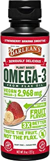 BARLEAN'S Seriously Delicious Omega-3 Flax Oil, Strawberry Banana Smoothie, 8-oz (705875000291)