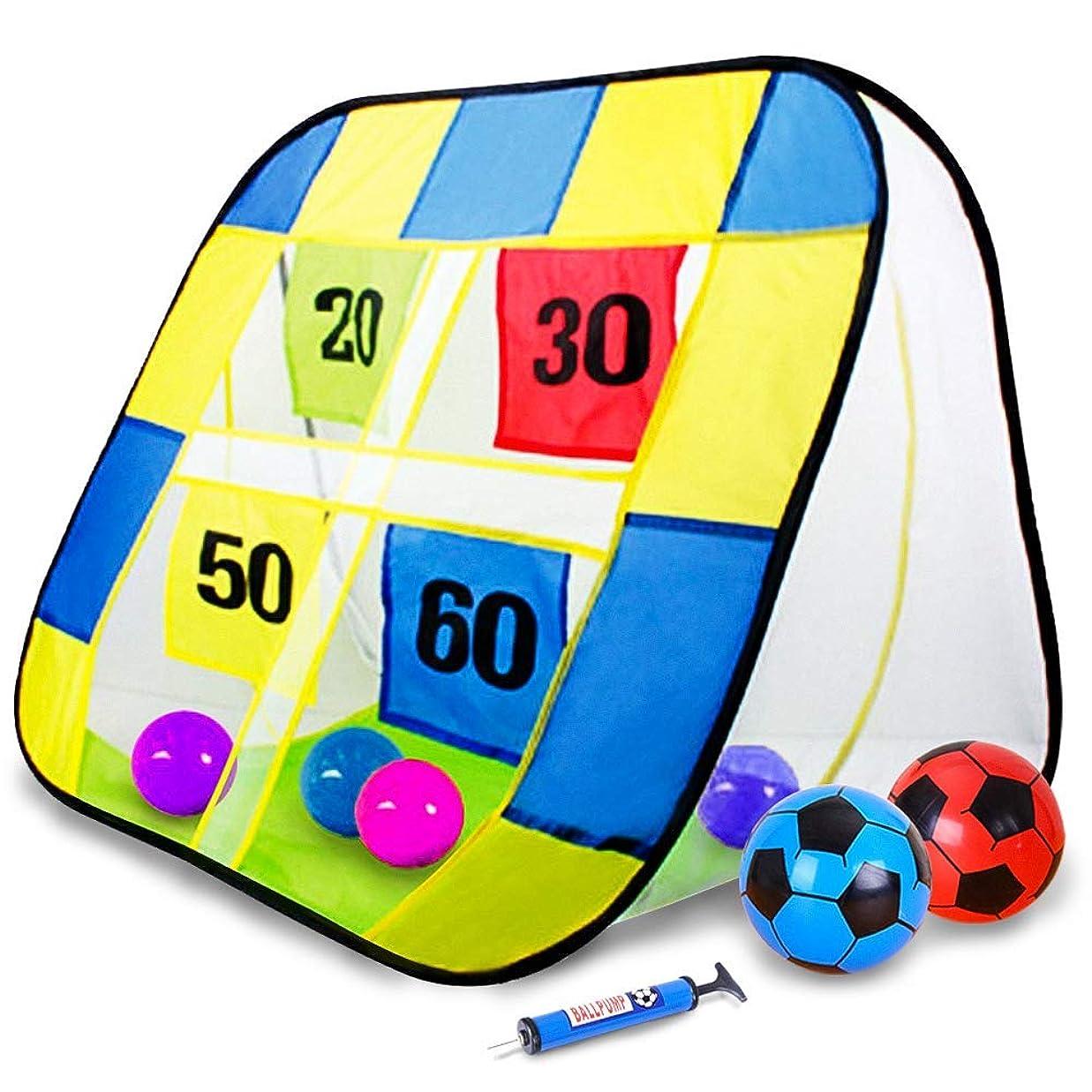 抵抗男かすかなストラックアウト サッカー ゴール ボール ハンドボール 折りたためる おもちゃ アウトドア 多人数で楽しめる レント 親子ゲーム 子供 ギフト 柔らかいボール付き