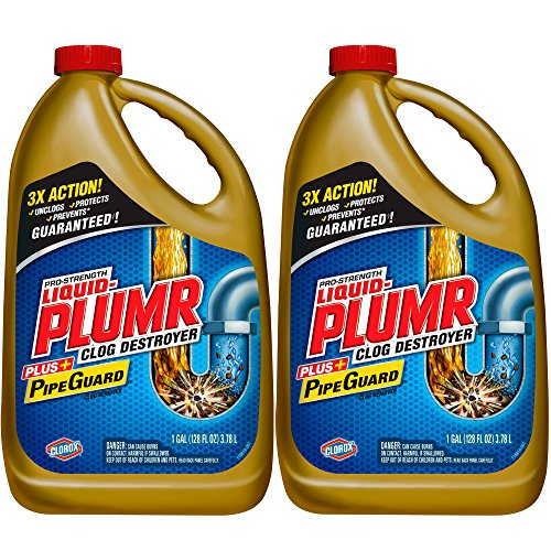 Liquid-Plumr 128 oz Full Clog Destroyer Pro-Strength Drain Cleaning Clog Remover, 2-Pack