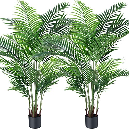 Fopamtri Artificial Areca Palm Plant 6 Feet Fake Palm Tree with 20 Trunks Faux Tree for Indoor Outdoor Modern Decoration Feaux Dypsis Lutescens Plants in Pot for Home Housewarming Gift,2 Pack