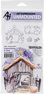 Art Impressions Mini Try'folds Cling Rubber Stamps Nativity, 10