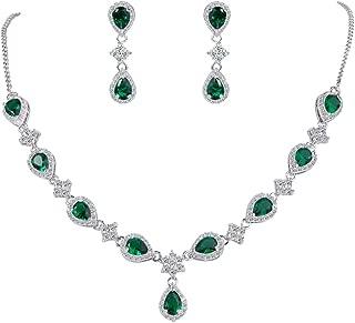 Women's Silver-Tone Cubic Zirconia Teardrop Flower Bridal V-Necklace Jewelry Set Dangle Earrings