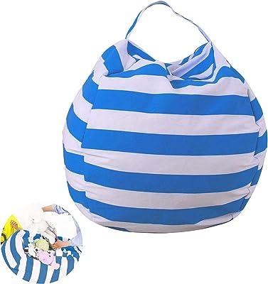 Sac de rangement pour jouets - Pouf - Grande capacité - En toile de qualité supérieure - Bleu