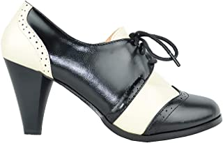 Dora-5 Two Tone Lace Up Low Heel Women's Oxford