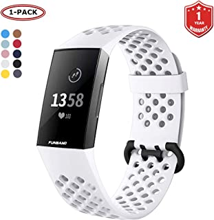FunBand for Fitbit Charge 3 Strap Bands, Easy Adjust Breathable with Ventilation Holes Soft Silicone Sport Accessory Brace...