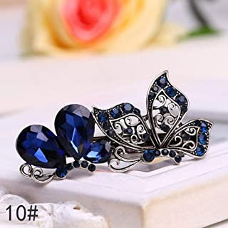 Women Crystal Rhinestone Flower Antique Silver Hairpin for Lady Girls Metals Barrette Butterfly Hair Clip,A10