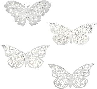 YANSHON 96PCS 3D Mariposa Hueca, Decoración de Fiesta de Pegatinas de Pared de Mariposa, Pegatinas de Pared Extraíbles de ...