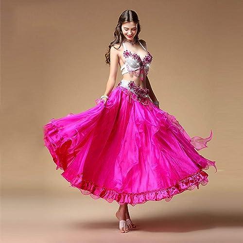 Générique Adulte Jupe Perforhommece Femme Danse du Ventre Couleur Set Costume De Danse Orientale Diahommet