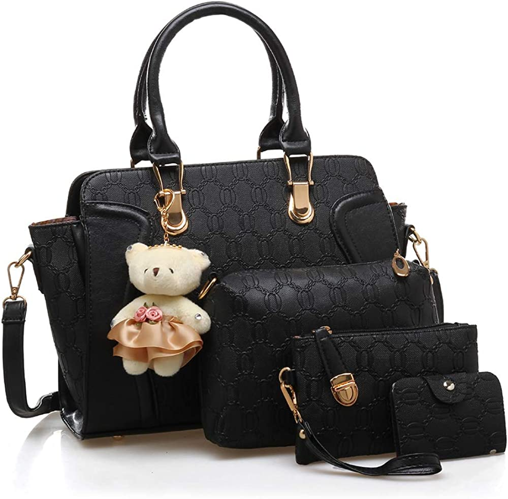 Women 4 Pcs Handbags Set, Tote Bag Top Handle Shoulder Crossbody Bag Wallet Card Holders Pack