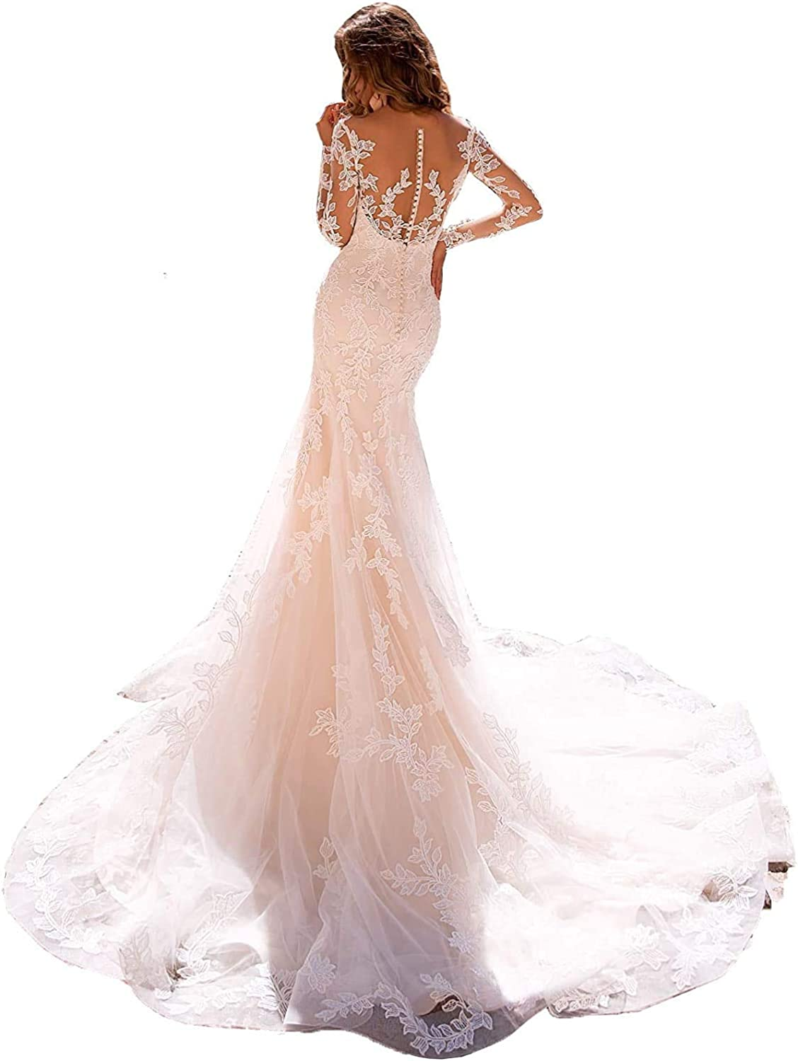 V-Neck Lace Wedding Dresses for Bride Tulle Boho Long A Line Illusion Beach Bridal Gowns 2021