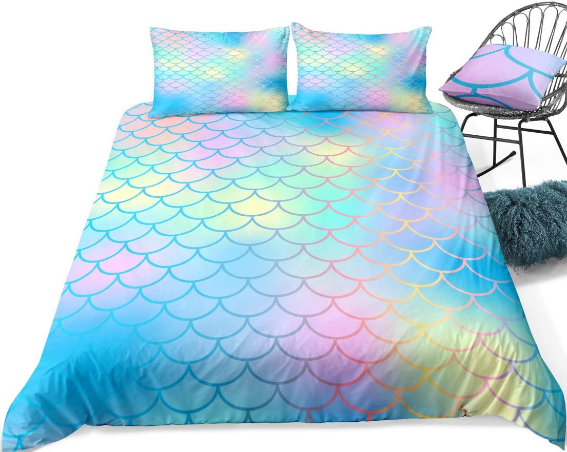 Twin, Multi Watercolor Scale Bedding Mermaid Scale Duvet Cover Set Blue Gold Fish Scales Printed Pattern Boys Girls Bedding Sets Twin 1 Duvet Cover 1 Pillowcase