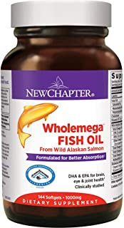 New Chapter Wholemega Fish Oil Supplement with Omega-3, Vitamin D3 and Astaxanthin - 144 Count
