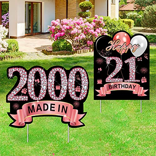 2Pcs 21st Birthday Yard Sign Decorations for Her, Rose Gold 21 Birthday Made in 2000 Party Lawn Sign Supplies, Happy 21 Year Old Birthday Yard Decor with Stakes for Outdoor
