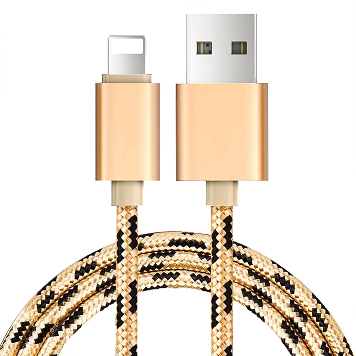 港それにもかかわらず寸法Crux ライトニング ケーブル USB充電ケーブル 高耐久ナイロン iPhone充電ケーブル クイック充電 ケーブルの同期とUSB充電ケーブル iPhone/iPod/iPad 各種対応対応 (1.5M, ブラック/ゴールデン)