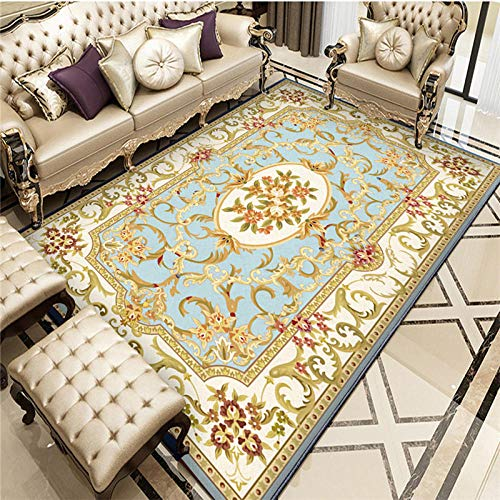 La alfombras Decoracion Mesa Salon Azul Amarillo Vintage Floral Alfombra de Agua se Lava la Sala de Estar Suave y Sucia. alfombras para Cocina alfombras oficinas 200*300cm