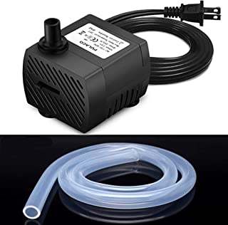 PULACO 50-95 GPH Mini Submersible Water Pump with 3.3 ft Flexible tubing(I/D 1/4inch) for Pet Fountain, Aquarium Fish Tank, Pond, Fountain, Hydroponics