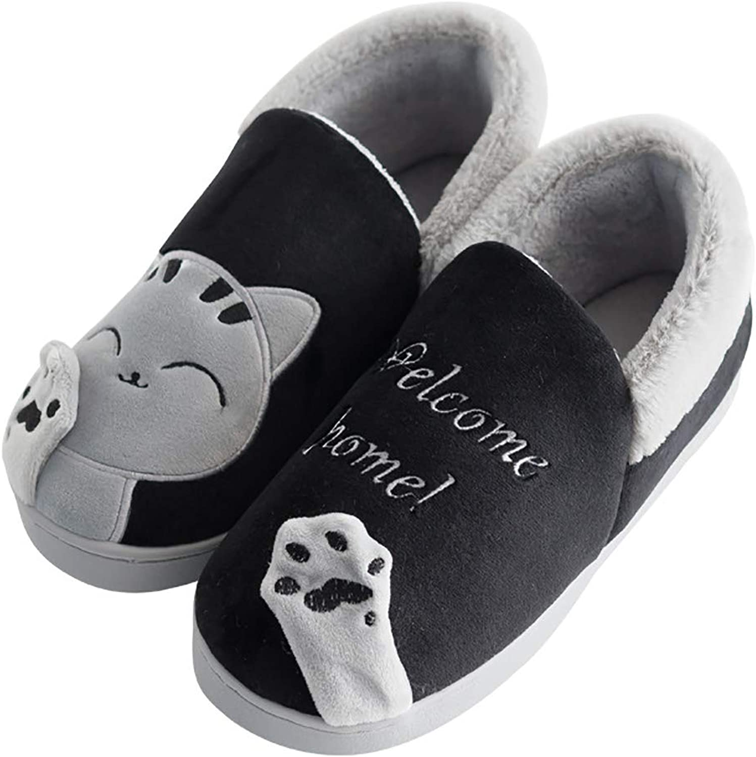 Plush Slippers with All-Inclusive Heel Indoor Warm Non-Slip TPR Cotton shoes Cartoon Cat Washable Home shoes for Men and Women,Black,40 41