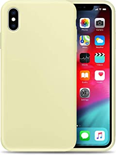Compatible with Apple iPhone X Liquid Silicone Phone Case Gel Rubber Full Body Protection Shockproof Cover Case Drop Protection for Apple iPhone X Yellow