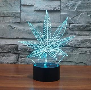 ZJFHL Nueva 3D Lámparas de mesa LED Hoja de marihuana Lámpara nocturna Nocturna de acrílico Colorido