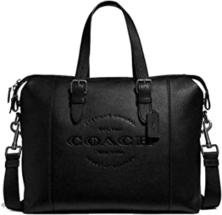 Coach Pebbled Leather Hudson Briefcase Tote - #F30620 - Black