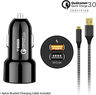 TAGG Power Bolt Dual USB Car Charger with 3ft. Nylon Braided Micro USB Cable