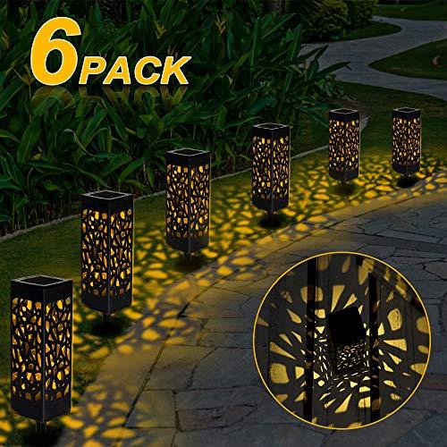 Solarleuchte Garten, 6 Stück LED Warmweiße Solarlampe Gartenleuchte Bahn Lichter Außenleuchte Wasserdicht IP44 Lichteffekt Dekoration Licht für Terrasse Rasen Garten Hinterhöfe Wege