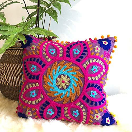 Traditional Jaipur Suzani Pillows, Embroidered Cushion Cover 16x16, Decorative Throw Pillow Case, Indian Pom Pom Outdoor Cushions, Boho Pillow Shams