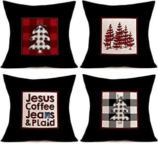 Aremetop 4 Pack Red Black Buffalo Plaids Farm Fresh Christmas Trees Throw Pillow Covers Jesus Coffee Jeans and Plaid Xmas Blessings Quotes Cotton Linen Farmhouse Cushion Cover Pillow Cases 18''x18''