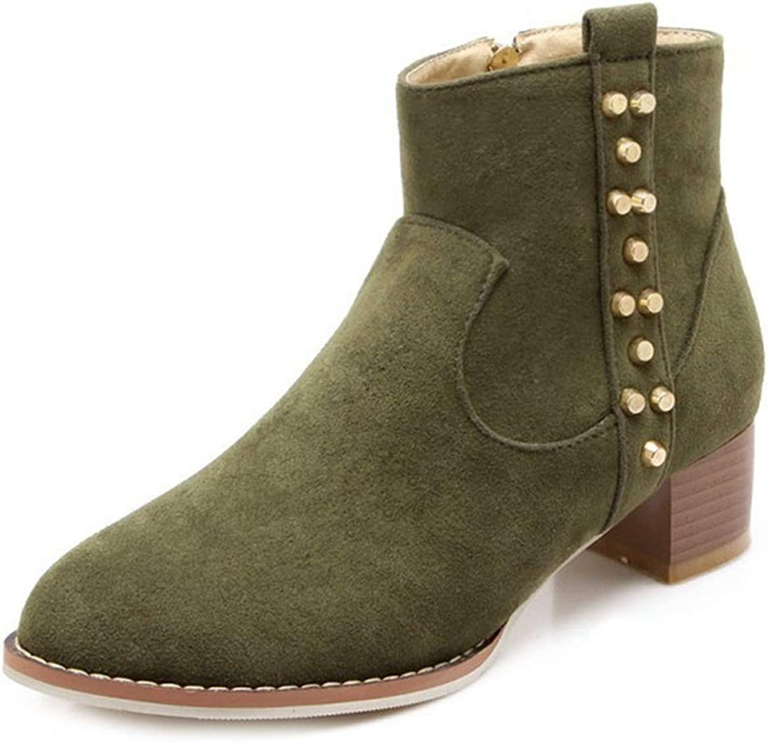 GIY Women's Retro Chunky Mid Heel Ankle Boots Suede Platform Bootie Stacked Heel Rivets Martin Short Boot