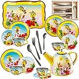 alles-meine.de GmbH 32 TLG. Set _ Puppengeschirr / Teeservice & Kaffeeservice - süße Bienen & Tiere + Besteck - Tablett & Geschirr aus Blech - Metall - Blechgeschirr - Kinderküch..