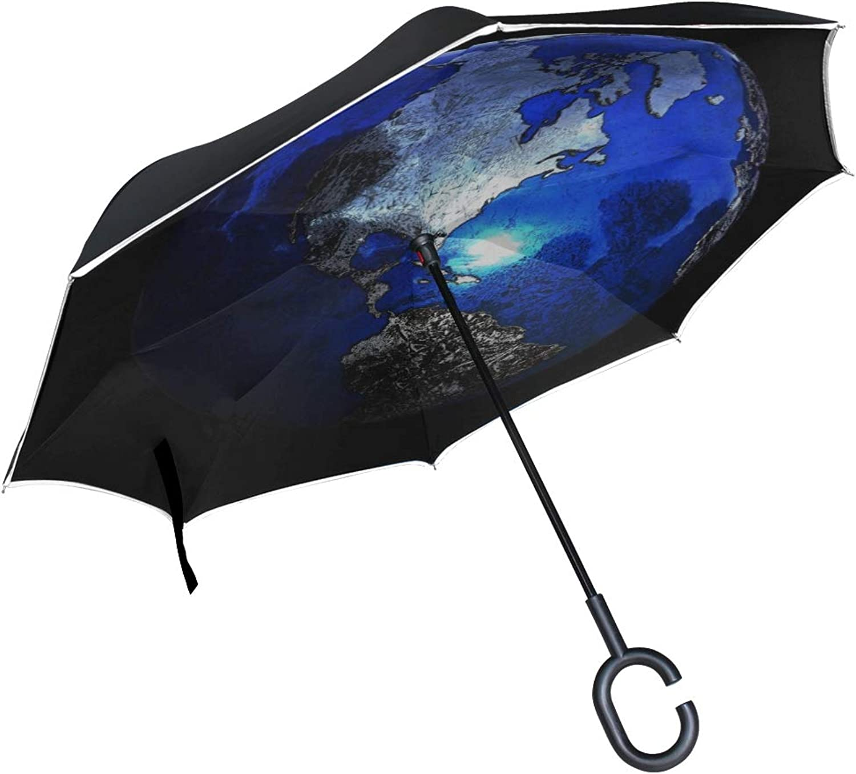 Rh Studio Ingreened Umbrella Planet Sphere Globe Large Double Layer Outdoor Rain Sun Car Reversible Umbrella