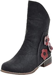 54408de0eb0814 UOMOGO Donna Stivaletti in Pelle, Scarpe da Invernali Neve Stivali con  Tacco Alto Boots con