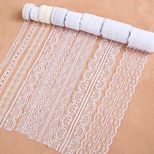 LEMESO 8 rollos de Cinta de Encaje de Arpillera Natural, Costura Material Adornos 3m por rollo Encaje para DIY Manualidad Ropa Diseño de Bodas y Fiestas