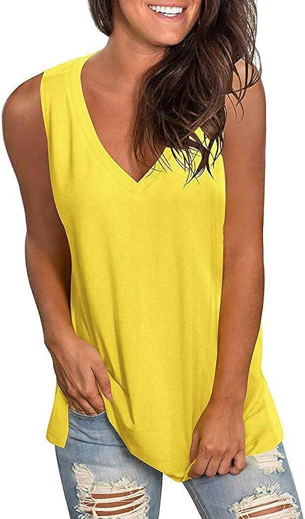 Bolayu Plain Vest for Women Sexy Fashion Solid v Neck Vest Sleeveless Summer Casual Fashion Vest