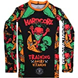 Hardcore Training Angry Vitamins Black Rash Guard Kids Unisex Compression Base Layer Tights No Gi BJJ Fitness MMA Workout Grappling