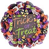 Trick or Treat Halloween Wreath   Candy Corn Door Decoration   Purple Orange Black White Green