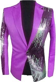 Sodossny-AU Men's Shiny Sequins Suit Jacket Blazer One Button Tuxedo Jacket