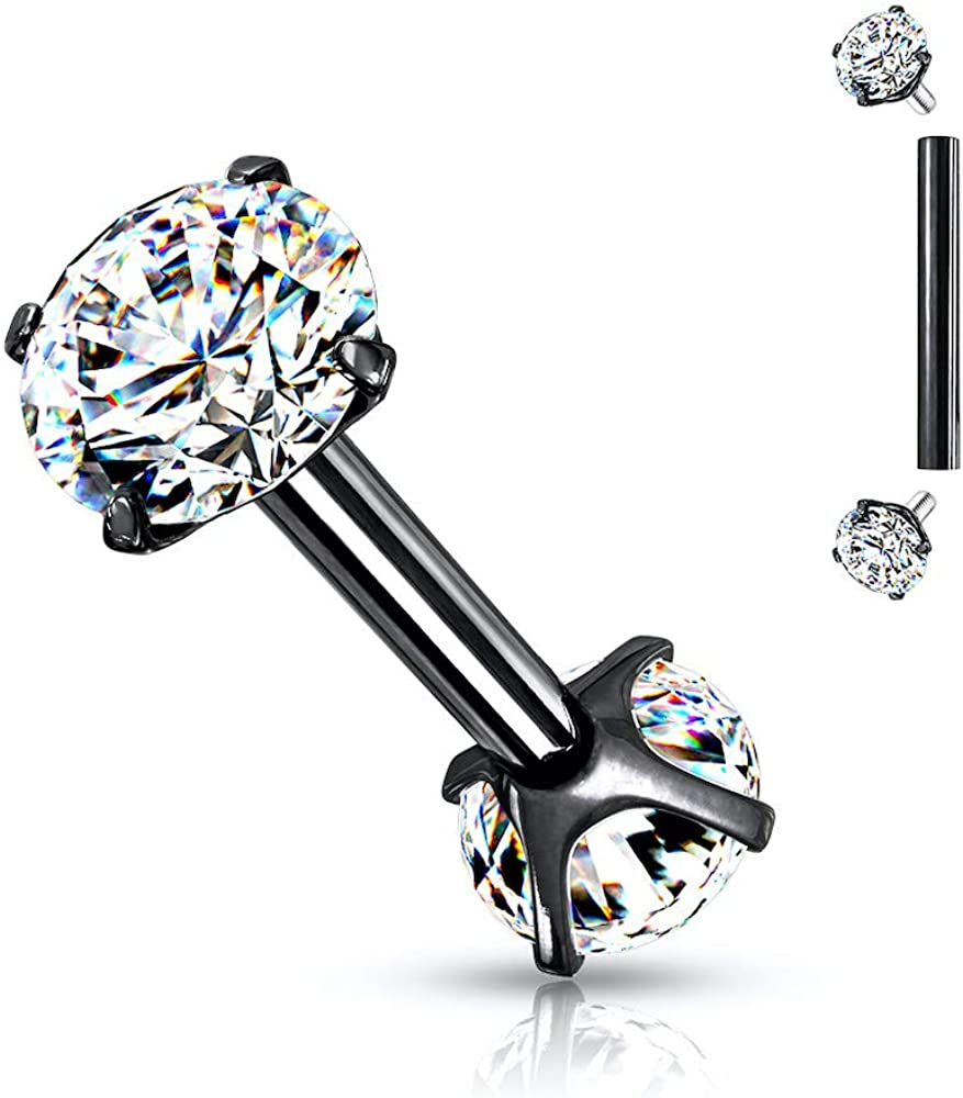 Covet Jewelry 316L Surgical Steel Internally Threaded Barbells with Prong Set CZ On Both Ends