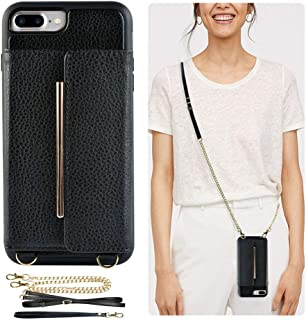 ZVEdeng iPhone 8 Plus Crossbody Case, iPhone 7 Plus Wallet Case, iPhone 7 Plus iPhone 8 Plus Case with Card Holder Kickstand Wrist Strap Crossbody Strap Handbag for iPhone 7PLUS/8PLUS(5.5inch)-Black