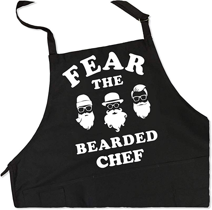 ApronMen Fear The Bearded Chef Apron Fun BBQ Apron 1 Size Fits All Adjustable