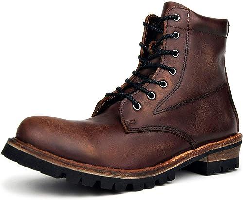 ZHRUI Stiefel de Moto Steampunk de Moda para Hombre Stiefel Chukka de Cuero Genuino de otoño e Invierno para Hombre Stiefel de Gran tamaño Western Heel Cowboy Martin (Farbe   braun, tamaño   8 UK)