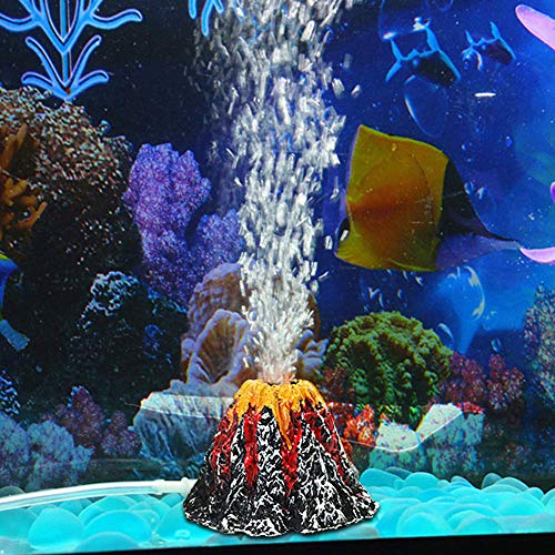 Fish Tank Volcano Ornaments Bubble Maker,Aquarium Volcano Ornament Kit, Air Bubbler Stone Aquarium Fish Tank Decorations-Not Included LED Light Air Pump And Tube