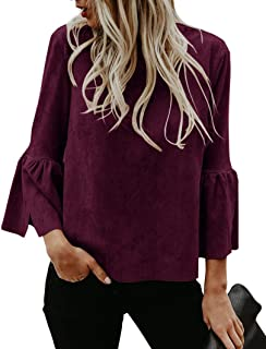 Womens Casual Bell Sleeve Tops Faux Suede Crew Neck Flare Party Blouse Shirt
